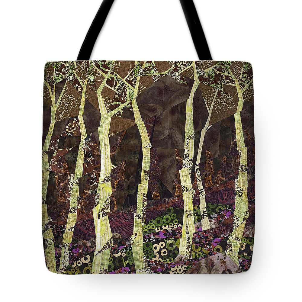 Tree Tote Bag featuring the tapestry - textile Wearing the Scars by Linda Beach