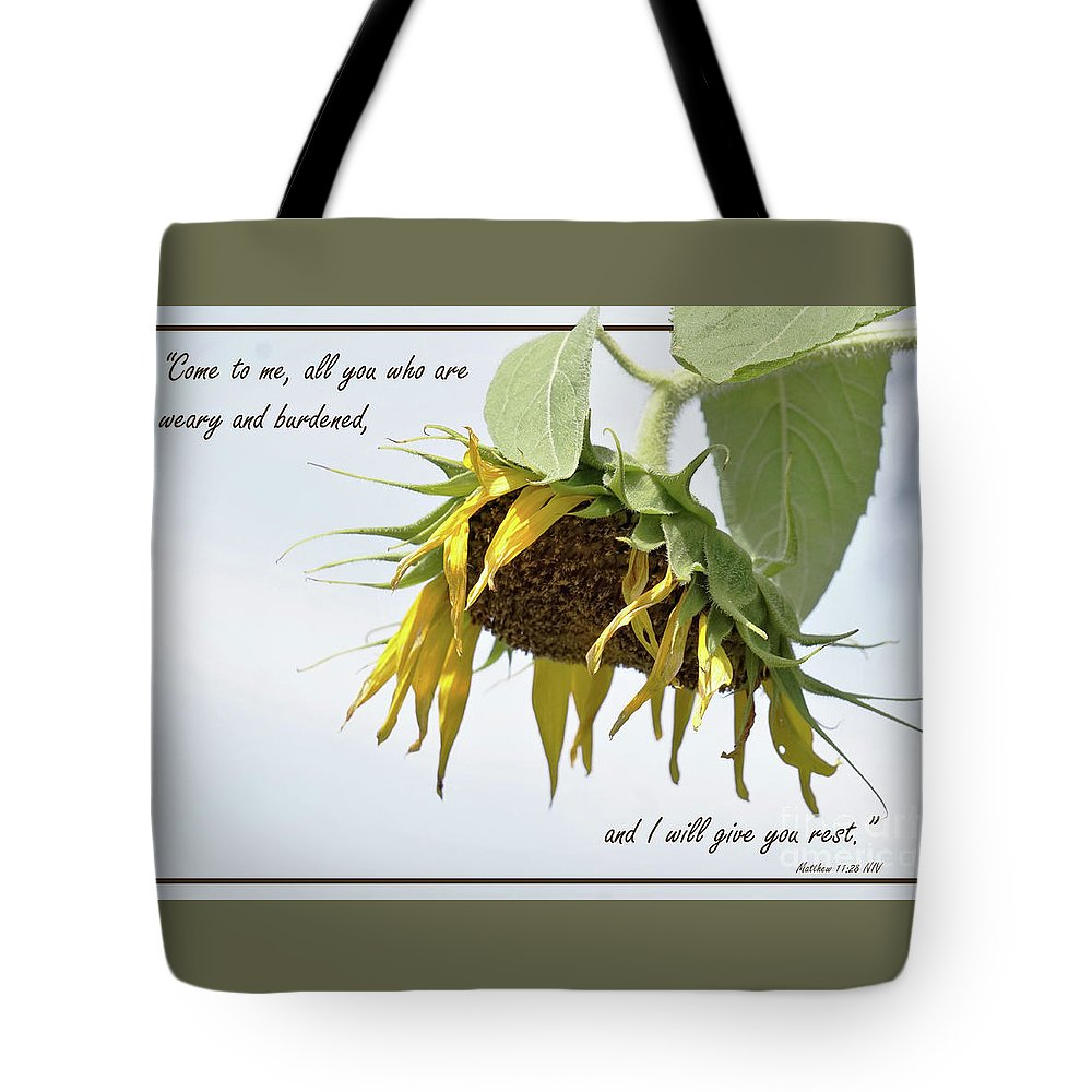 Sunflower Tote Bag featuring the photograph Weary by Karen Beasley