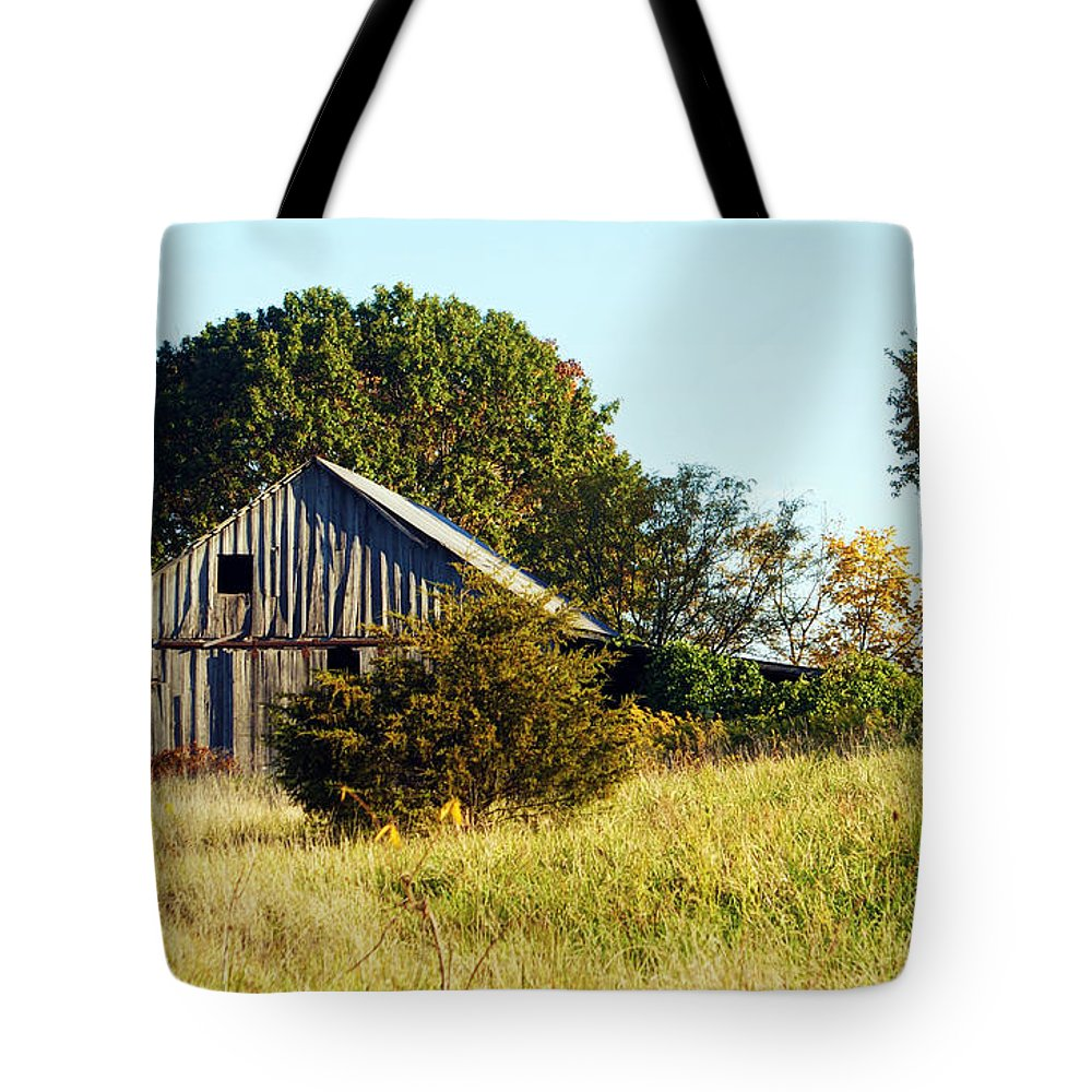 Barn Tote Bag featuring the photograph Weathered Barn In Fall by Cricket Hackmann