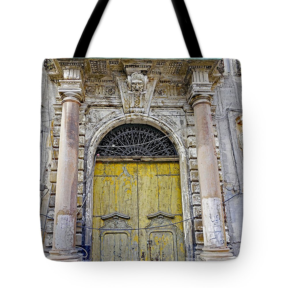 Palermo Tote Bag featuring the photograph Weathered Old Artistic Door On A Building In Palermo Sicily by Richard Rosenshein