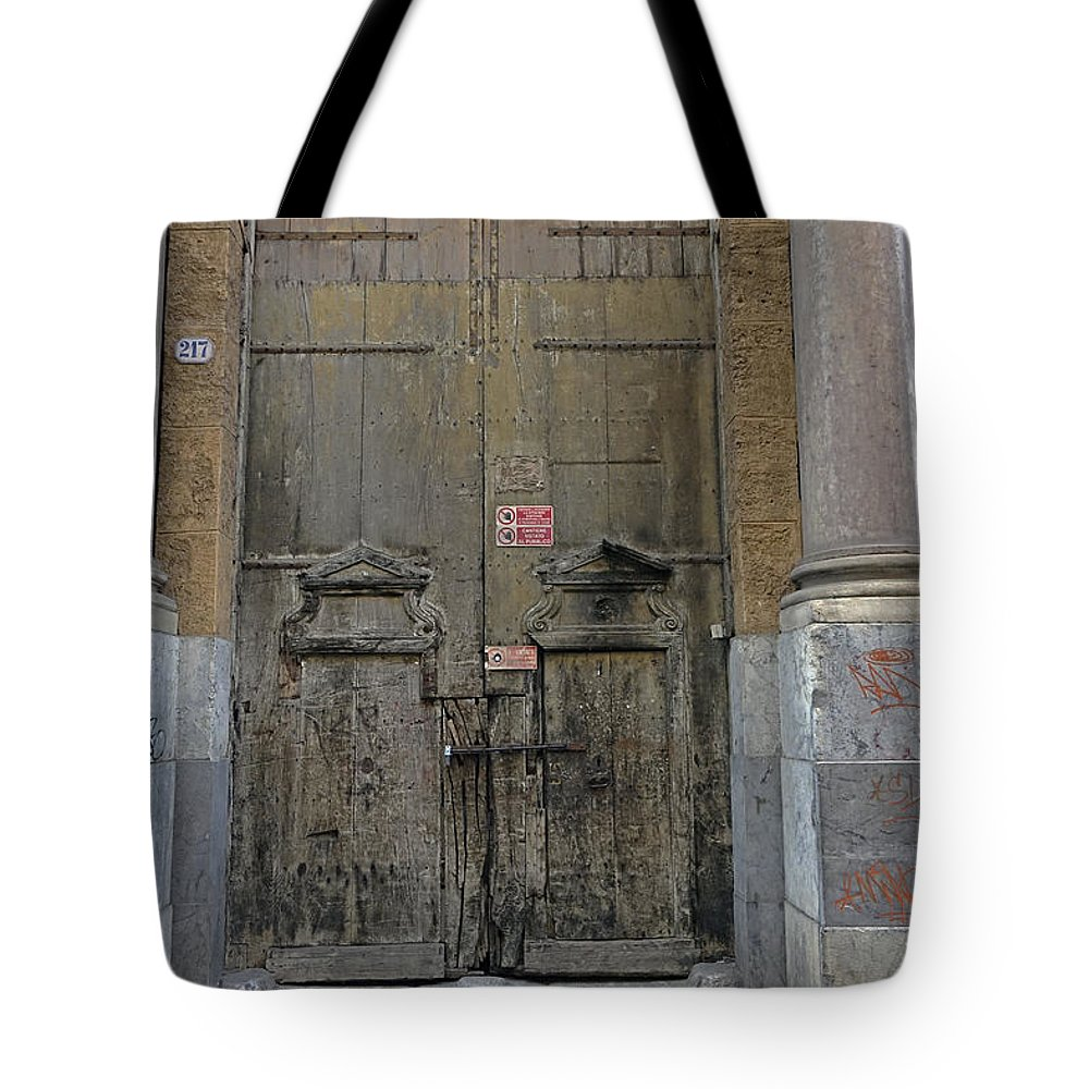 Palermo Tote Bag featuring the photograph Weathered Old Door On A Building In Palermo Sicily by Richard Rosenshein