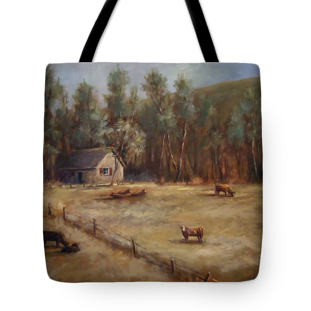 Landscape Cattle Hills Mountains Trees Sky Fence House Tote Bag featuring the painting Weathered Shutters by Ruth Stromswold