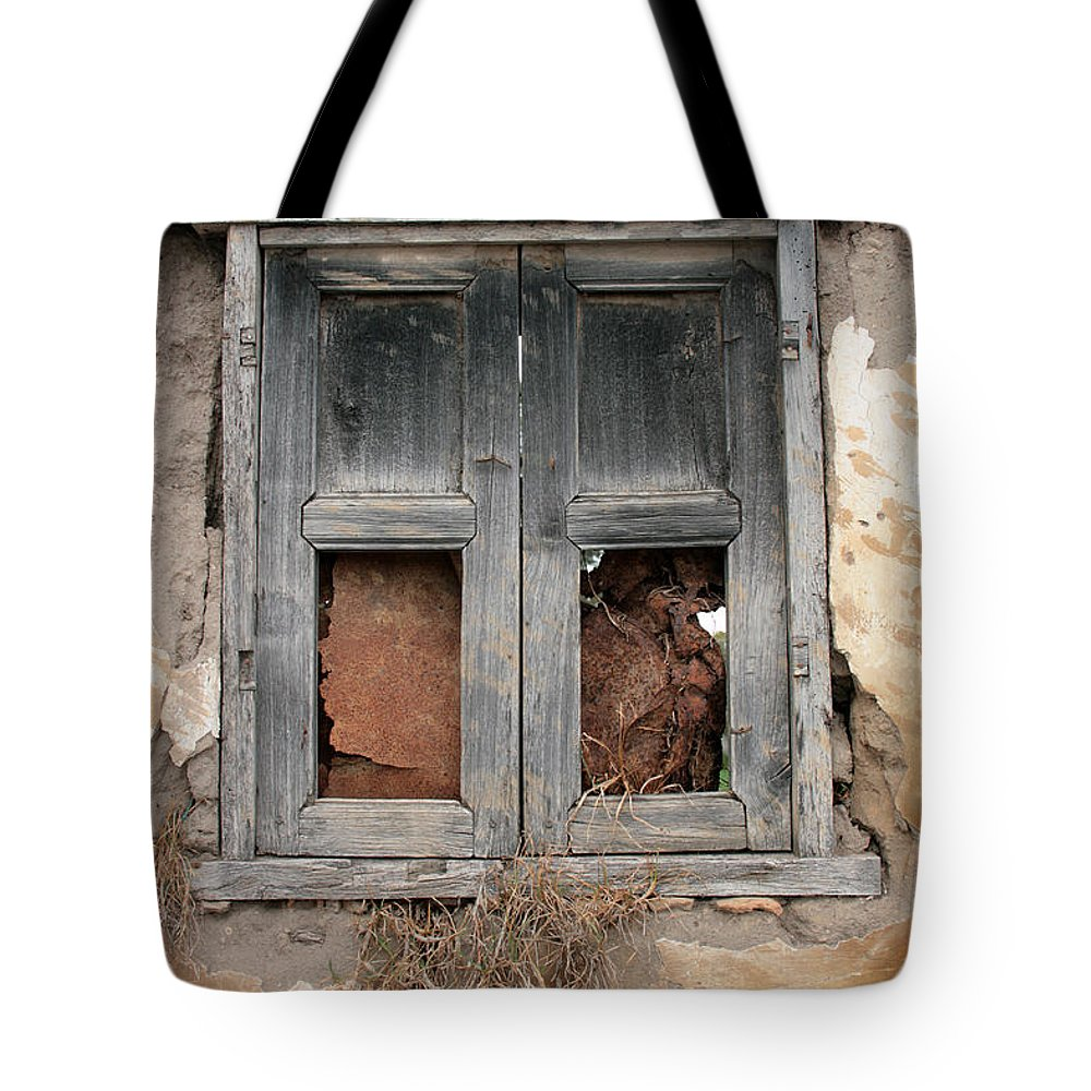 Window Tote Bag featuring the photograph Weathered Wood Window by Robert Hamm