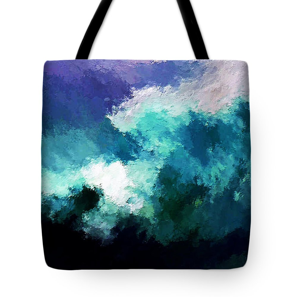 Breaking Waves Tote Bag featuring the digital art Weathering The Storm by Rein Nomm