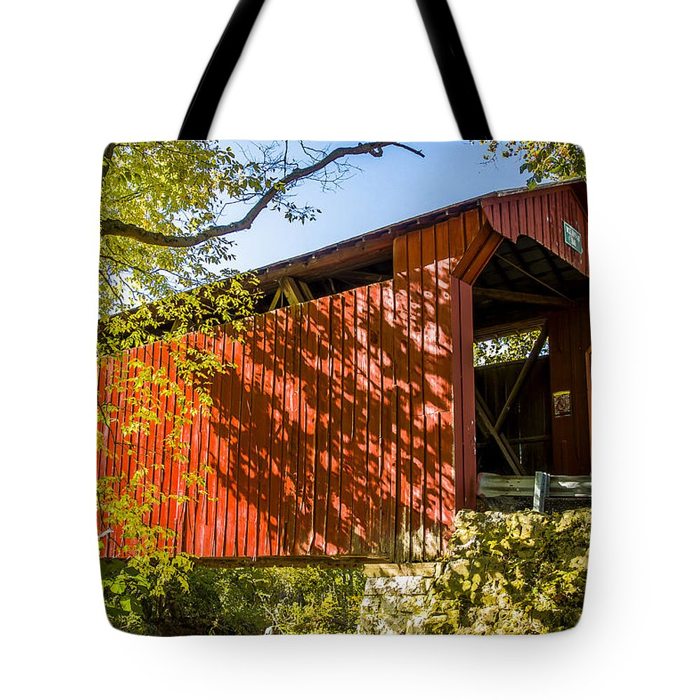 America Tote Bag featuring the photograph Webster/dick Huffman Covered Bridgesw Of Putnamville, Washingto by Jack R Perry