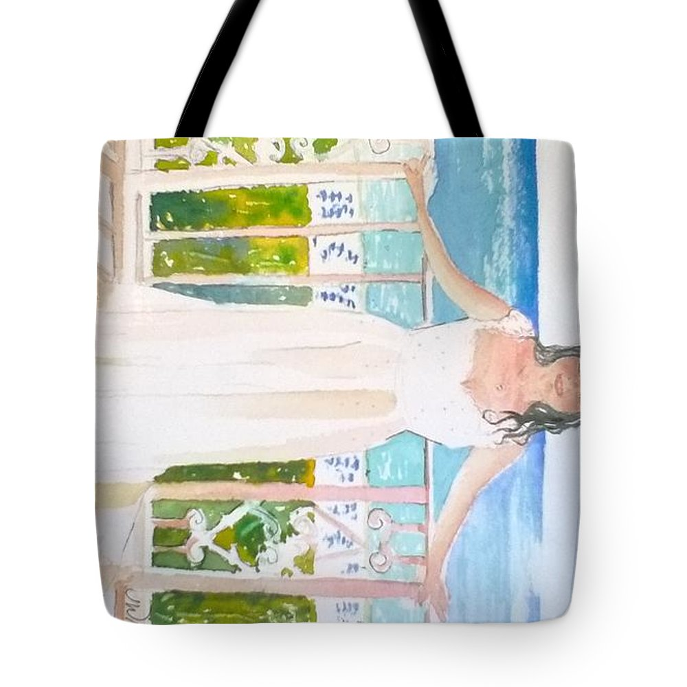 Ritz Carlton Tote Bag featuring the painting Wedding At The Ritz In Naples by Jill Morris