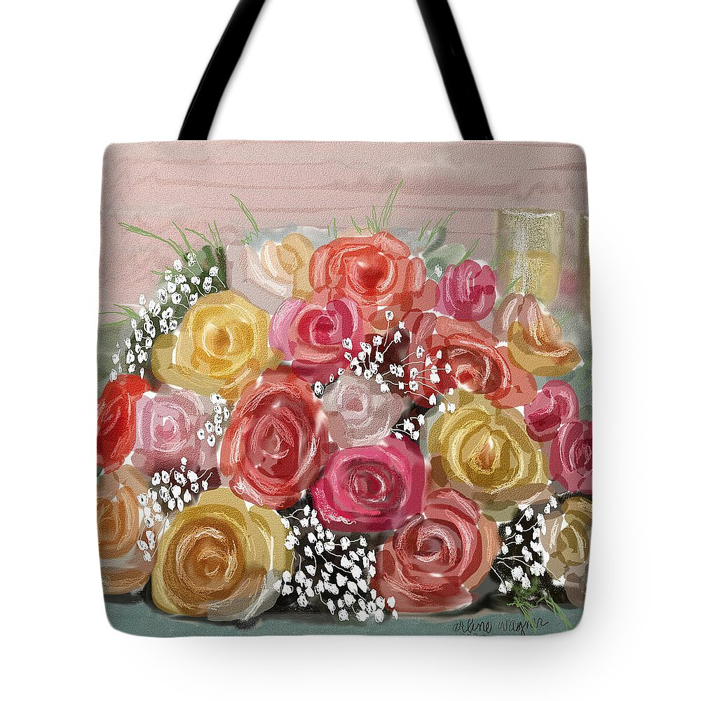Roses Tote Bag featuring the digital art Wedding Bouquet by Arline Wagner