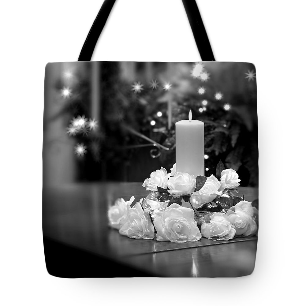 Arrangement Tote Bag featuring the photograph Wedding Candle by Tom Mc Nemar