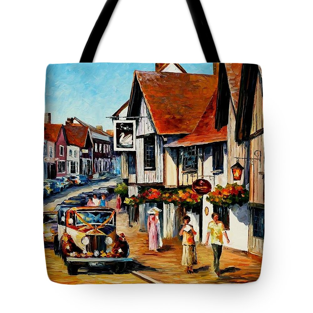 Afremov Tote Bag featuring the painting Wedding Day In Lavenham - Suffolk England by Leonid Afremov