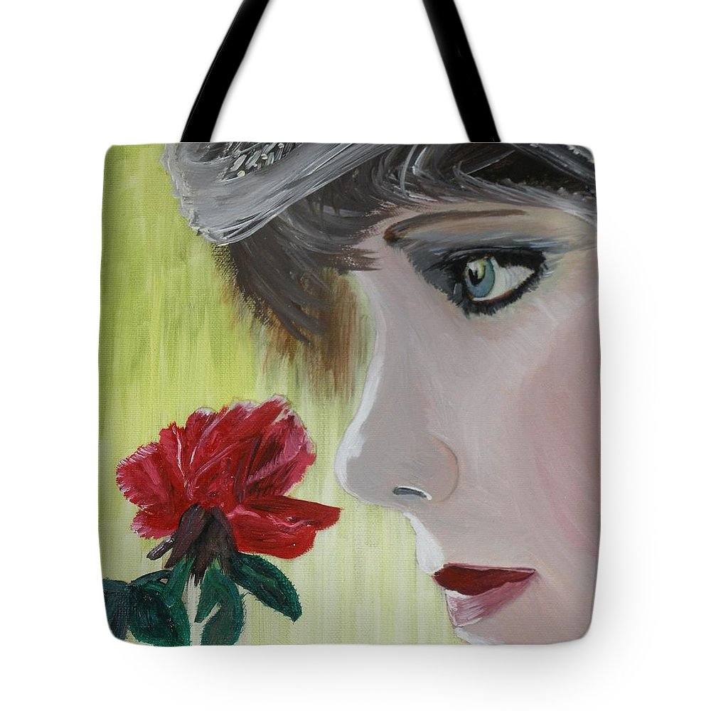 Romance Tote Bag featuring the painting Wedding Rose by J Bauer