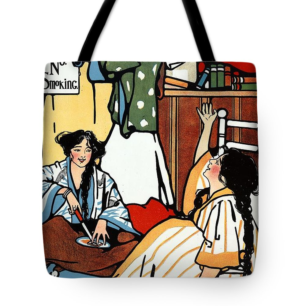 Wee Sma Hours Tote Bag featuring the mixed media Wee Sma Hours - Sadie Wendell Mitchell - Vintage Poster by Studio Grafiikka