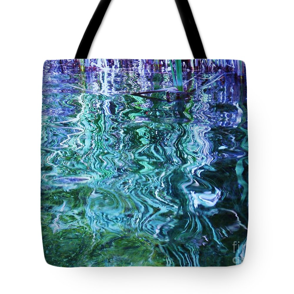 Photograph Blue Green Weed Shadow Lake Water Tote Bag featuring the photograph Weed Shadows by Seon-Jeong Kim
