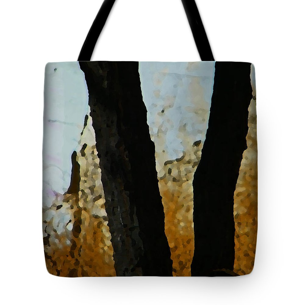 Abstract Tote Bag featuring the digital art Weeds And Wall by Lenore Senior