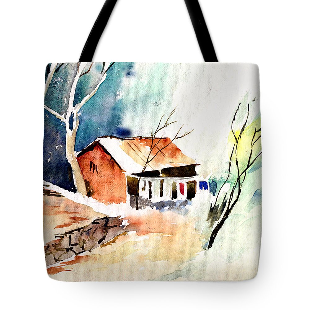 Nature Tote Bag featuring the painting Weekend House by Anil Nene
