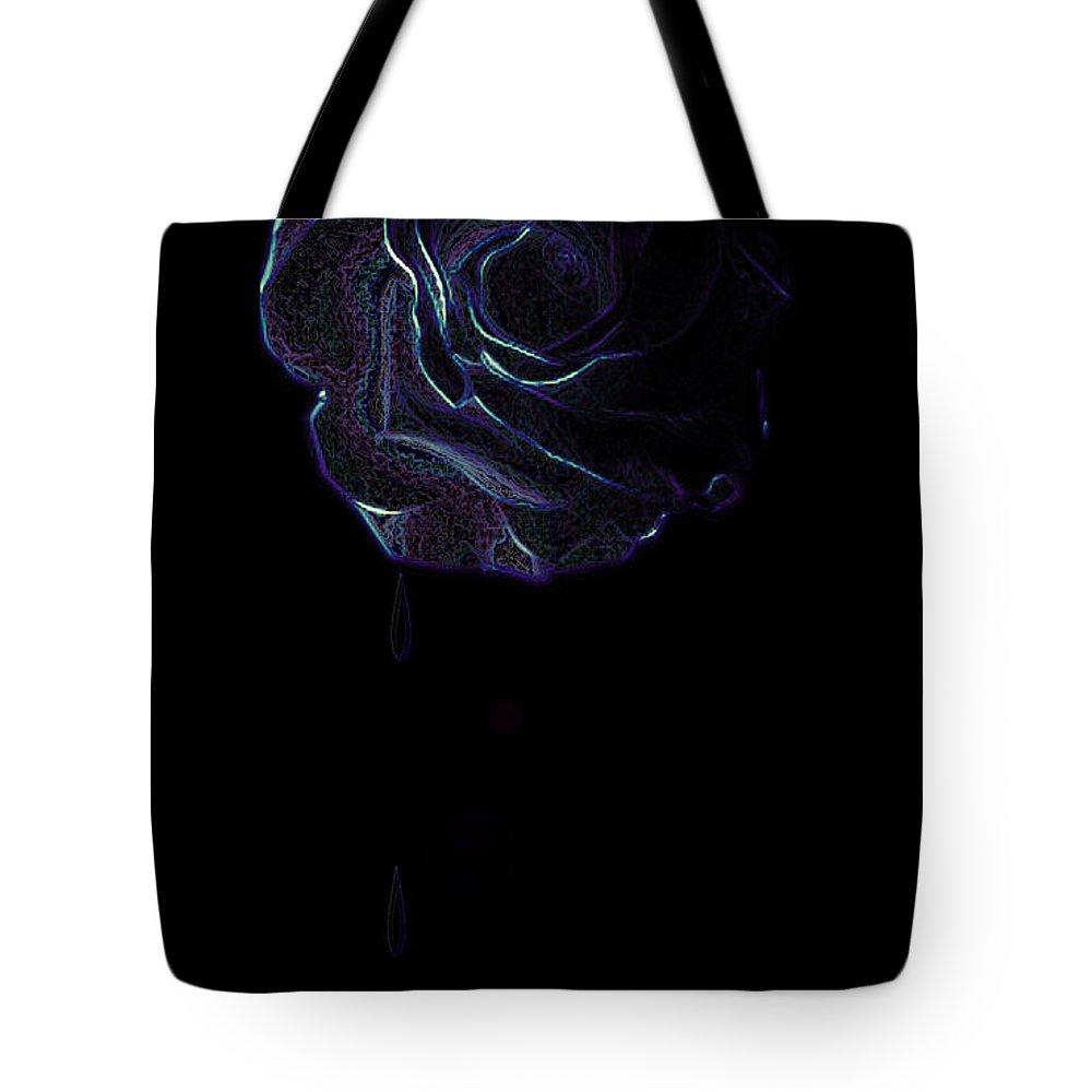 Rose Flower Tears Weeping Sad Crying Emotion Lost Dark Purple Blue Plants Feelings Tote Bag featuring the digital art Weeping Rose by Andrea Lawrence
