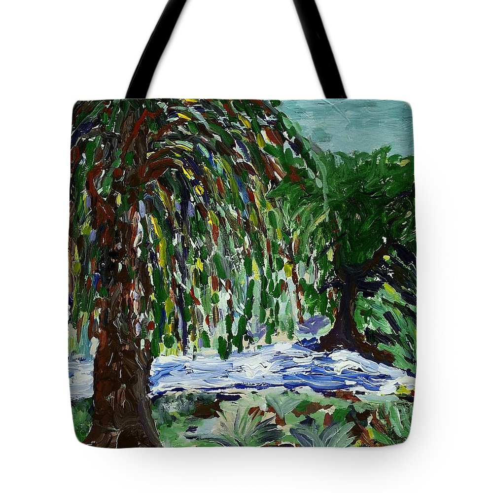 Weeping Tree Tote Bag featuring the painting Weeping Tree by Peter Nervo