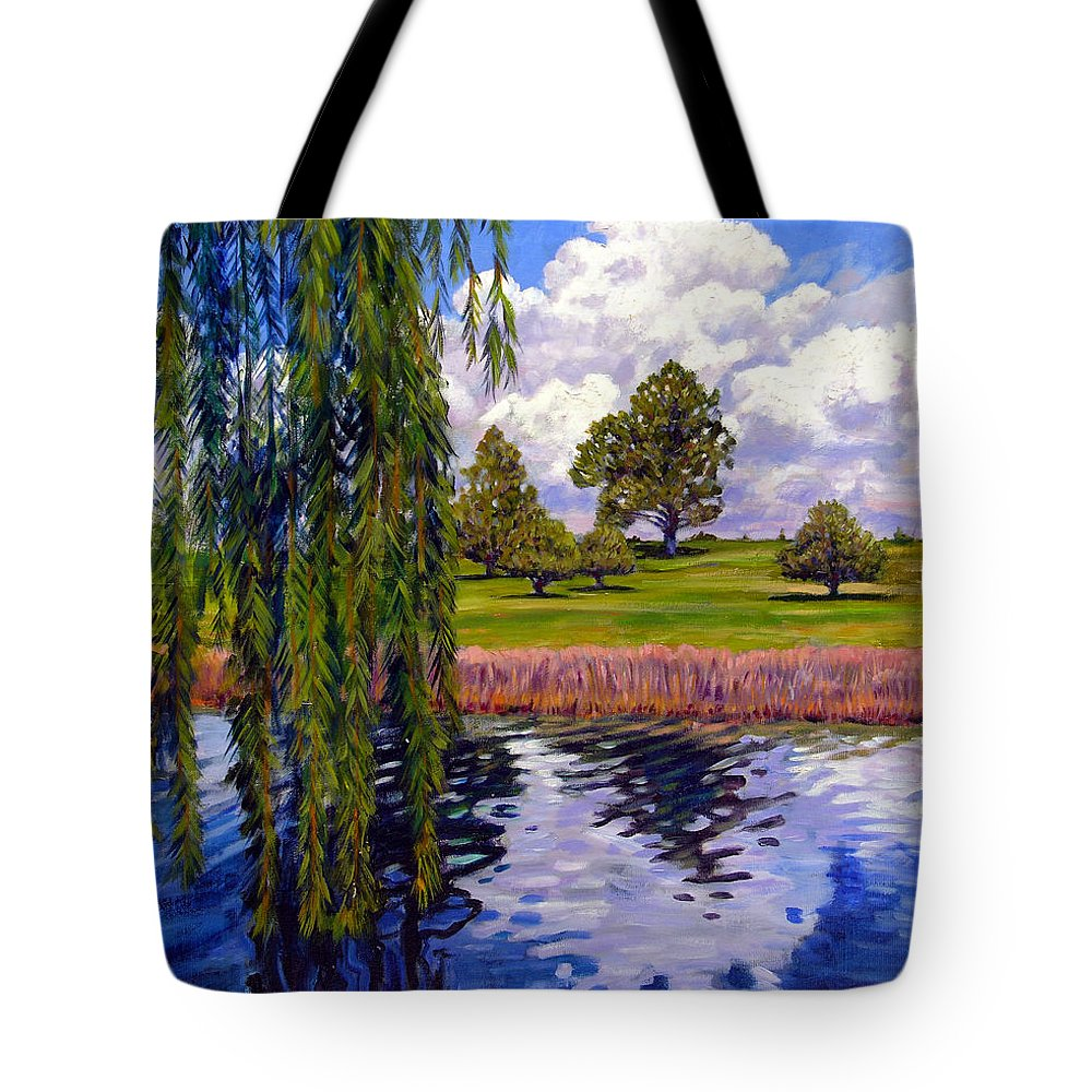 Landscape Tote Bag featuring the painting Weeping Willow - Brush Colorado by John Lautermilch