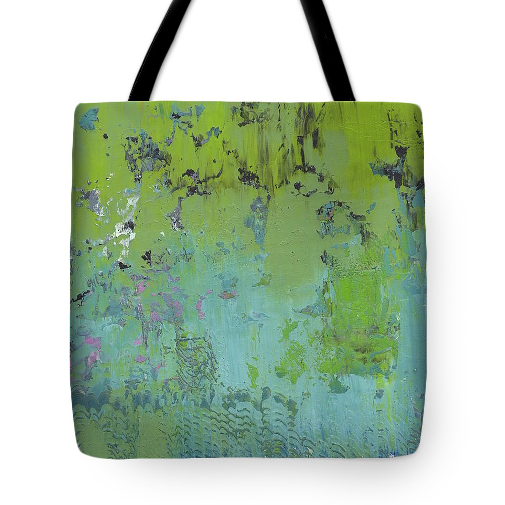 Abstract Tote Bag featuring the painting Weeping Willows by Marcy Brennan