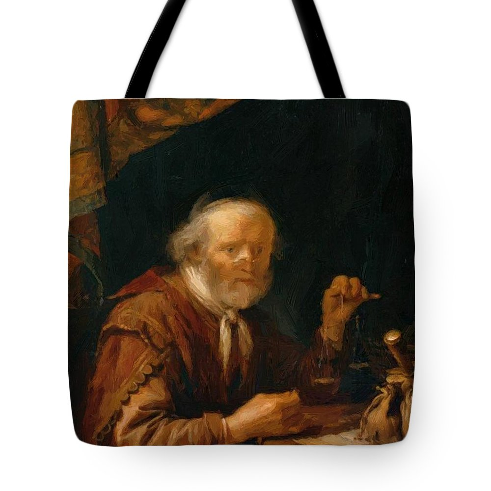 Weighing Tote Bag featuring the painting Weighing Gold 1664 by Dou Gerrit