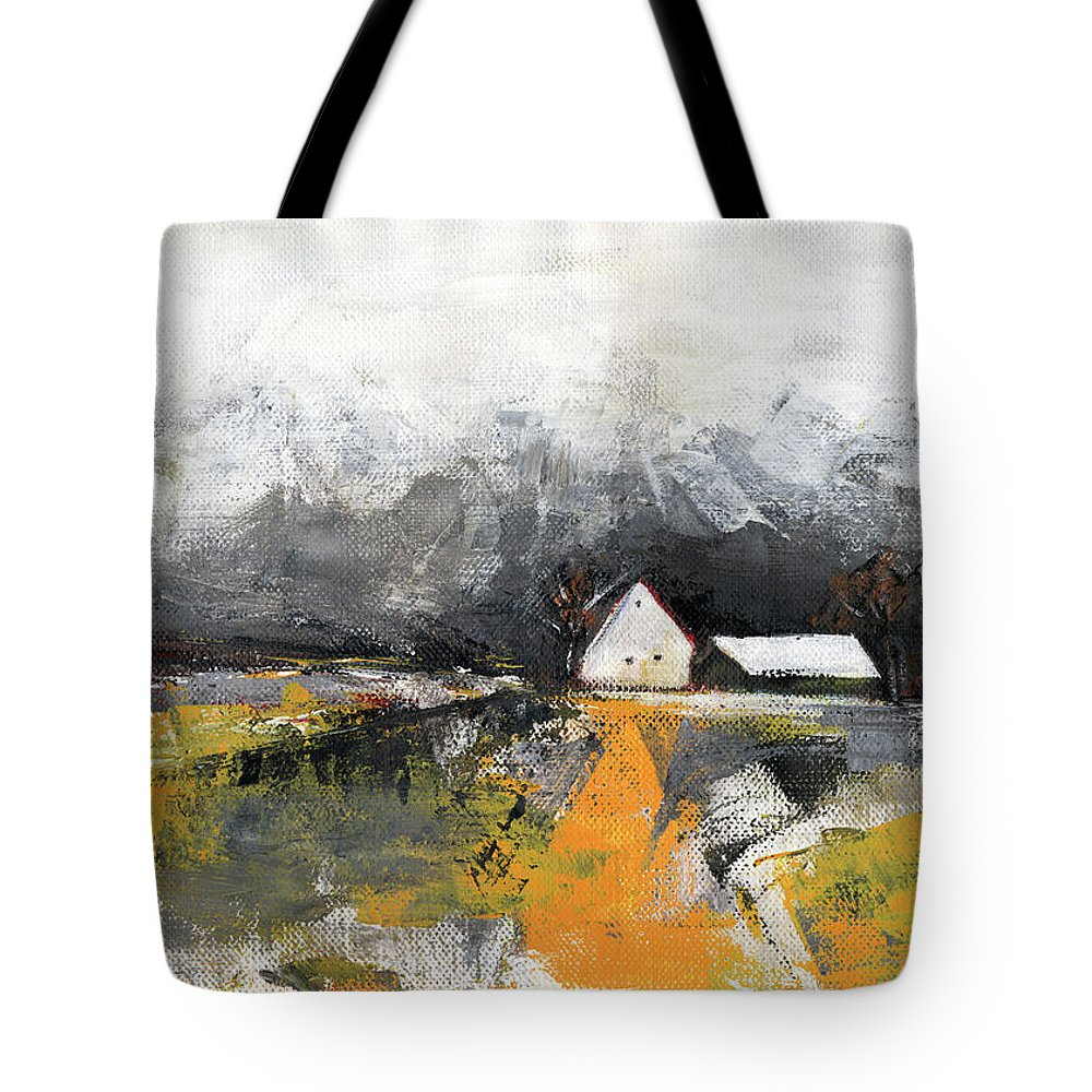 Landscape Tote Bag featuring the painting Welcome Home by Aniko Hencz