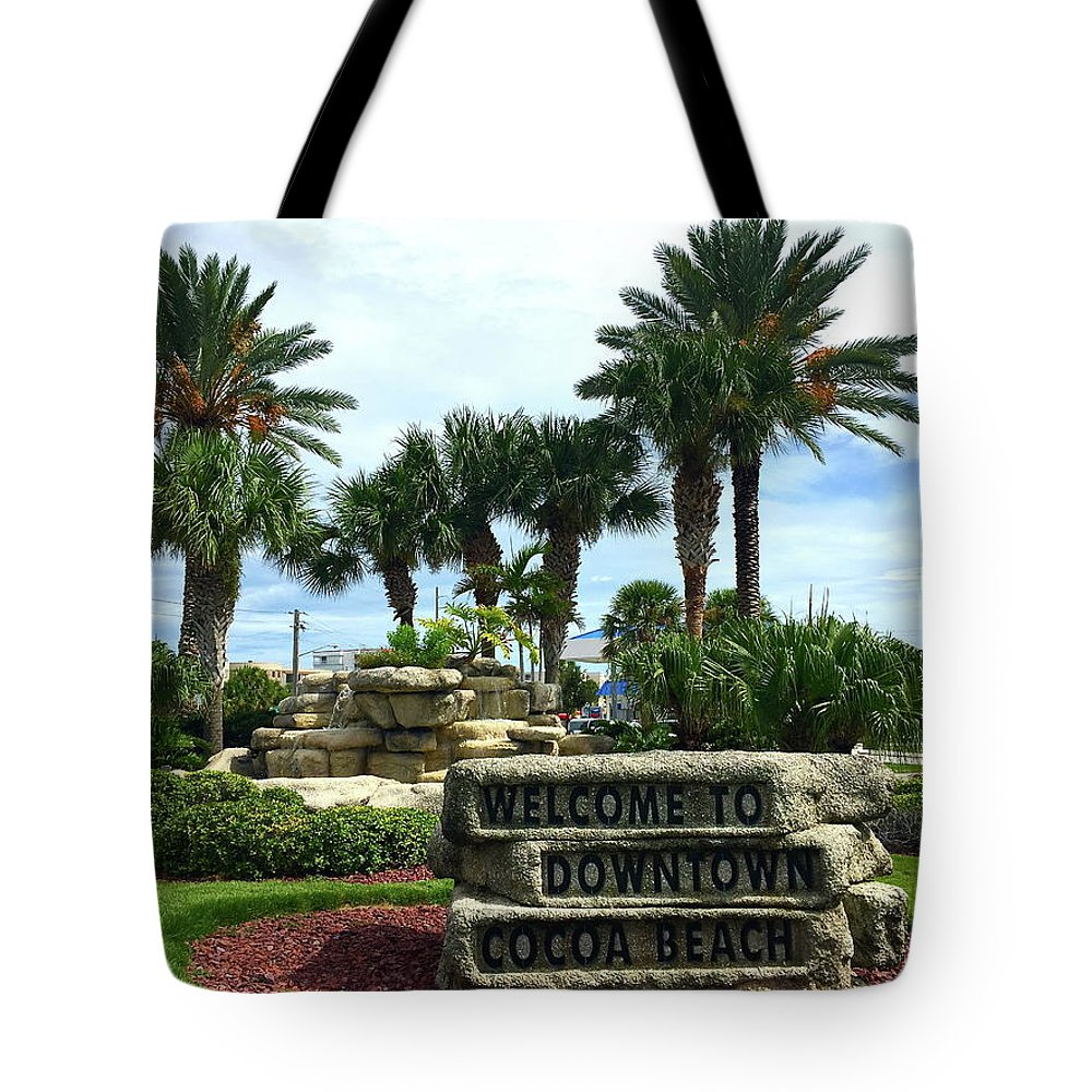 Cocoa Tote Bag featuring the photograph Welcome To Downtown Cocoa Beach by Denise Mazzocco