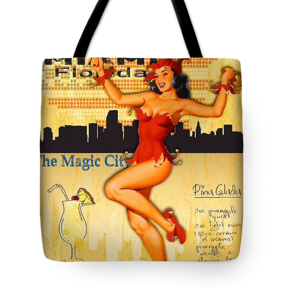 Comics Tote Bag featuring the digital art Welcome To Miami by Don Kuing