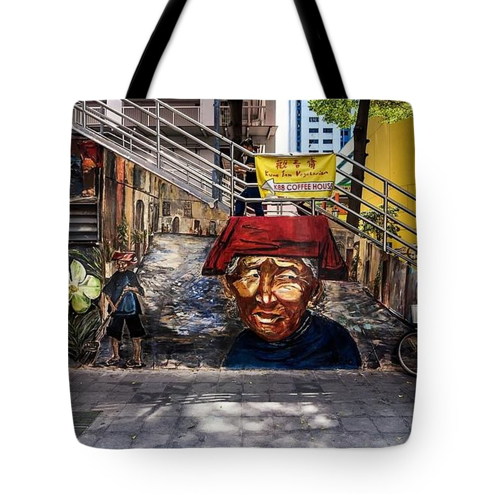 Samsui Tote Bag featuring the painting Welcome To Our World by Belinda Low