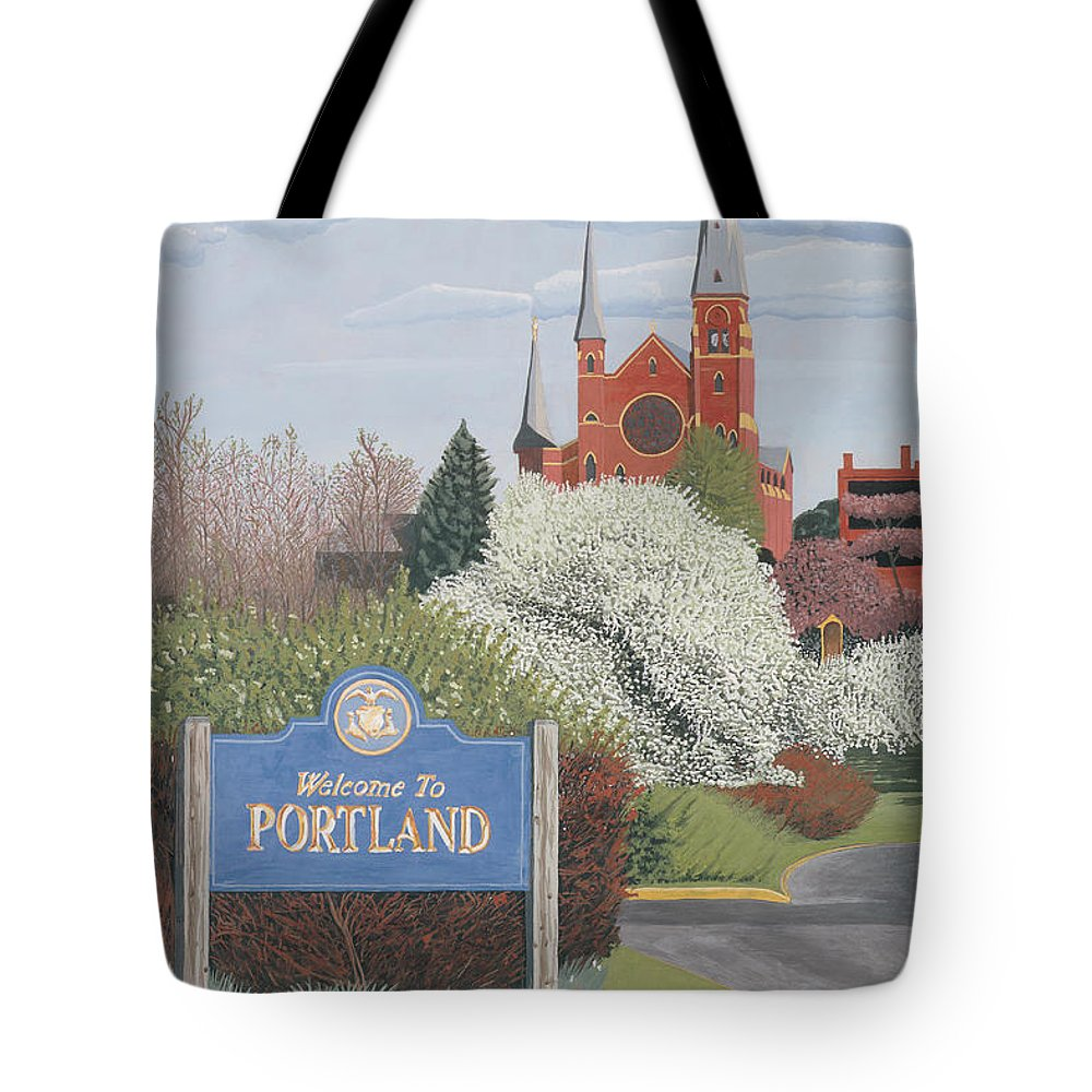 Church Tote Bag featuring the painting Welcome To Portland by Dominic White