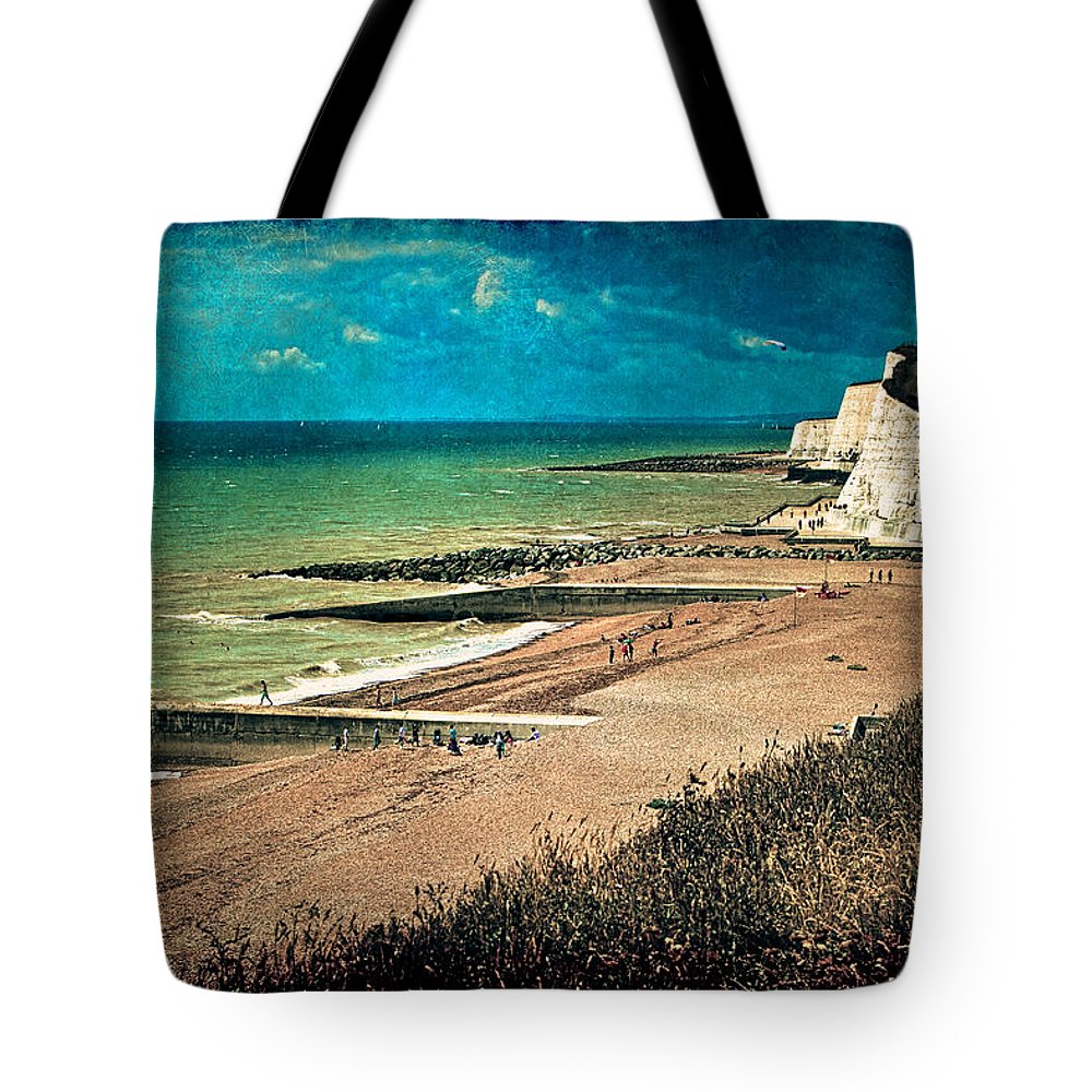 Beach Tote Bag featuring the photograph Welcome To Saltdean An Imaginary Postcard by Chris Lord