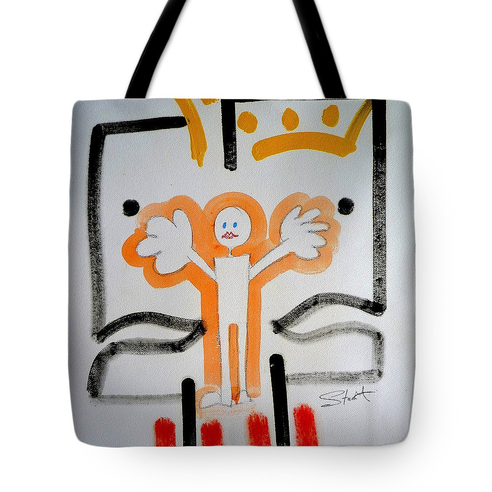 Drawing Tote Bag featuring the painting welcome to the U N by Charles Stuart