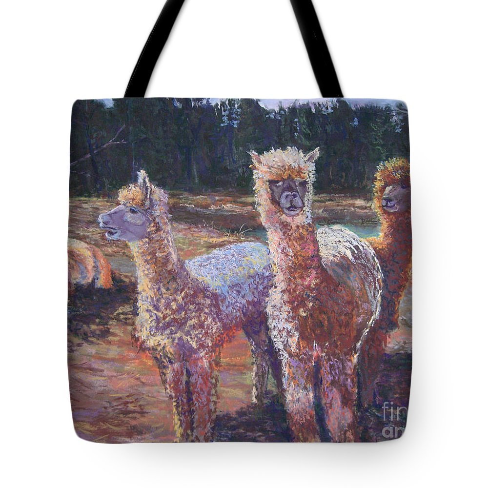 Alpaca Tote Bag featuring the pastel Welcoming Crowd by Alicia Drakiotes