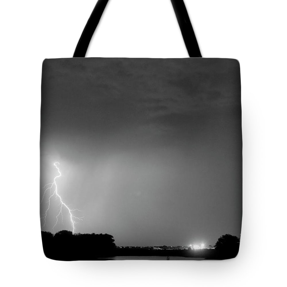 Black Tote Bag featuring the photograph Weld County Looking East From County Line Co Bw by James BO Insogna
