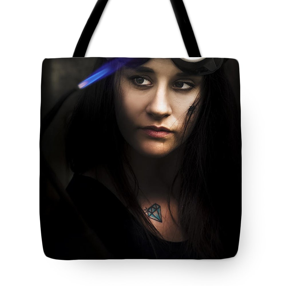 Blue Tote Bag featuring the photograph Welding by Jorgo Photography - Wall Art Gallery