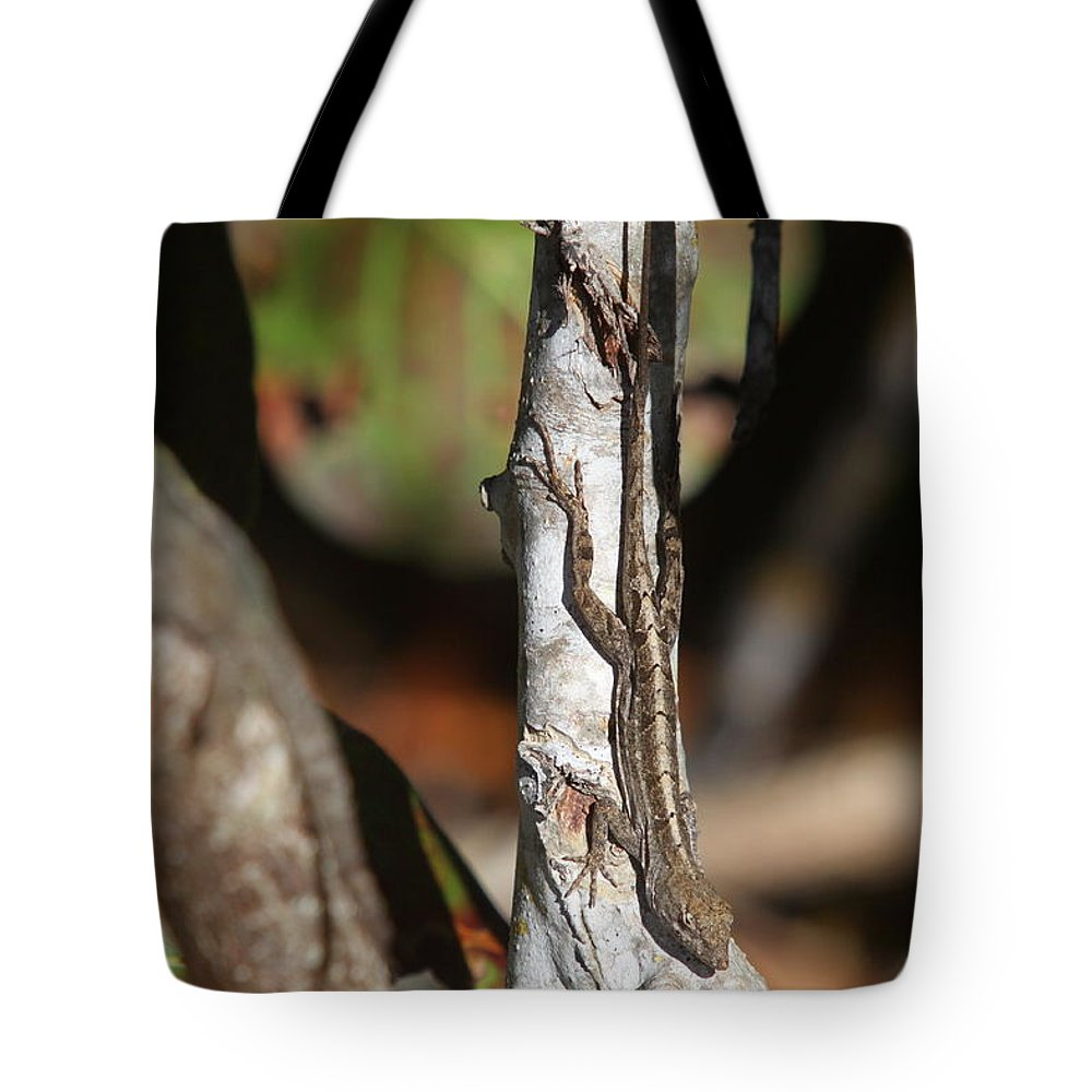 Lizard Tote Bag featuring the photograph Well-camouflaged Lizard by Christiane Schulze Art And Photography