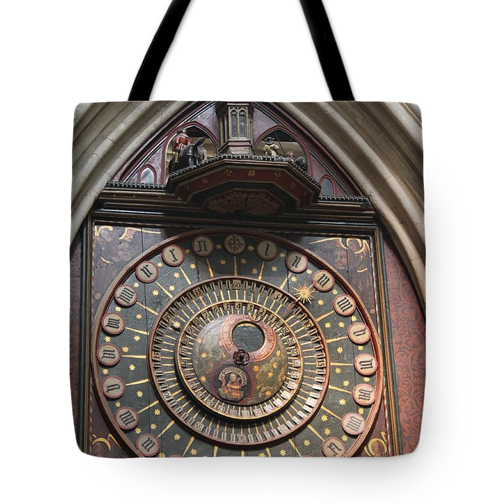 Wells Tote Bag featuring the photograph Wells Cathedral Astronomical Clock by Lauri Novak