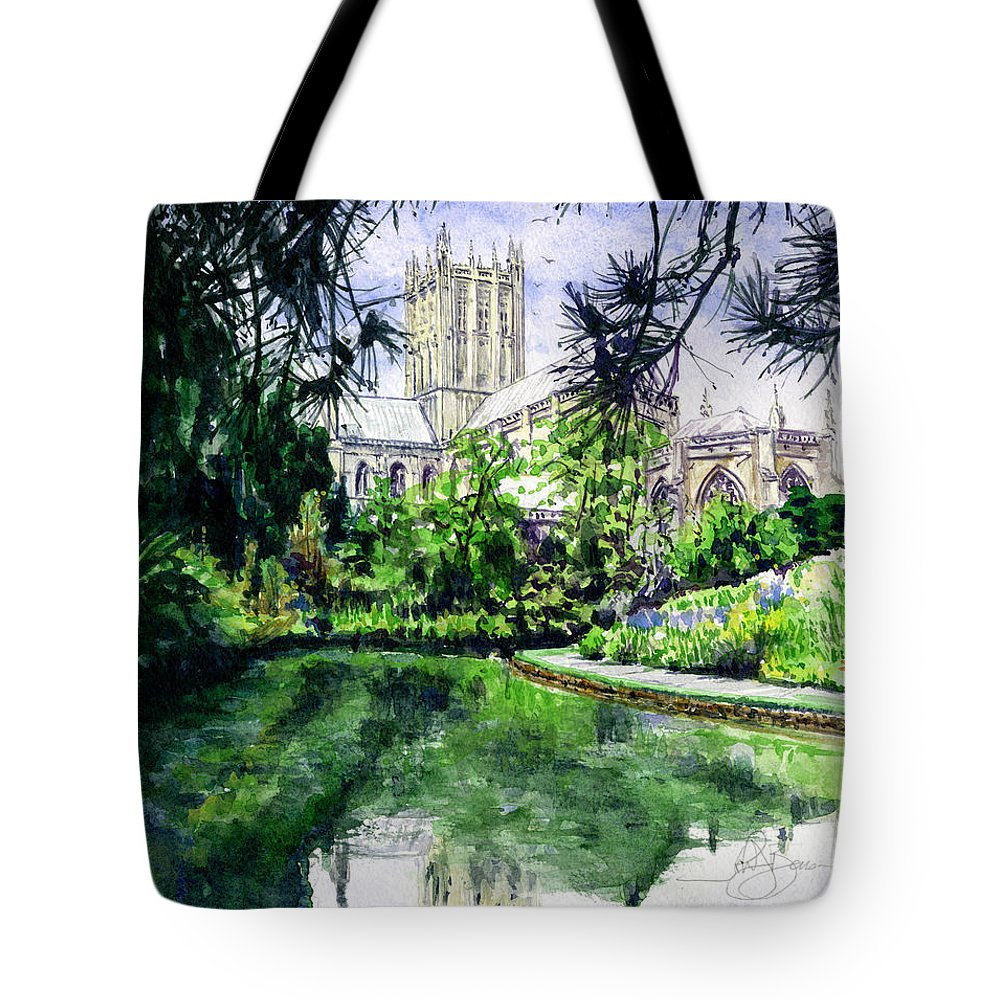 Wells Tote Bag featuring the painting Wells Cathedral by John D Benson