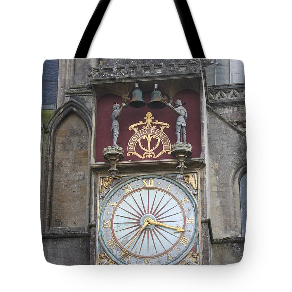 Wells Tote Bag featuring the photograph Wells Cathedral Outside Clock by Lauri Novak