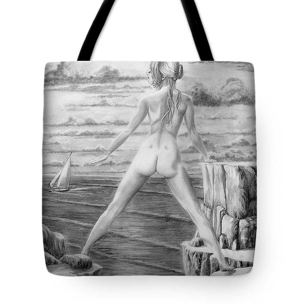 Nude Tote Bag featuring the drawing Wendy From Memory. by Murphy Elliott
