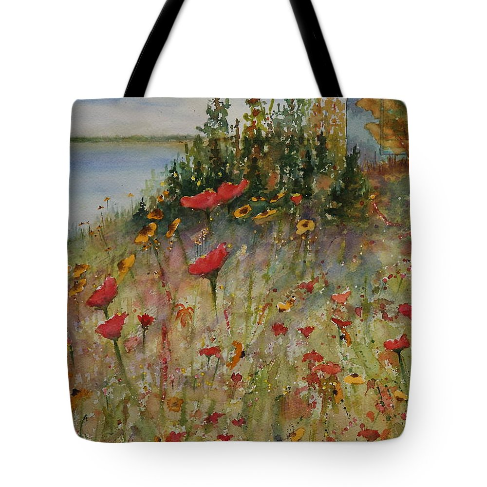 Nature Tote Bag featuring the painting Wendy's Wildflowers by Ruth Kamenev