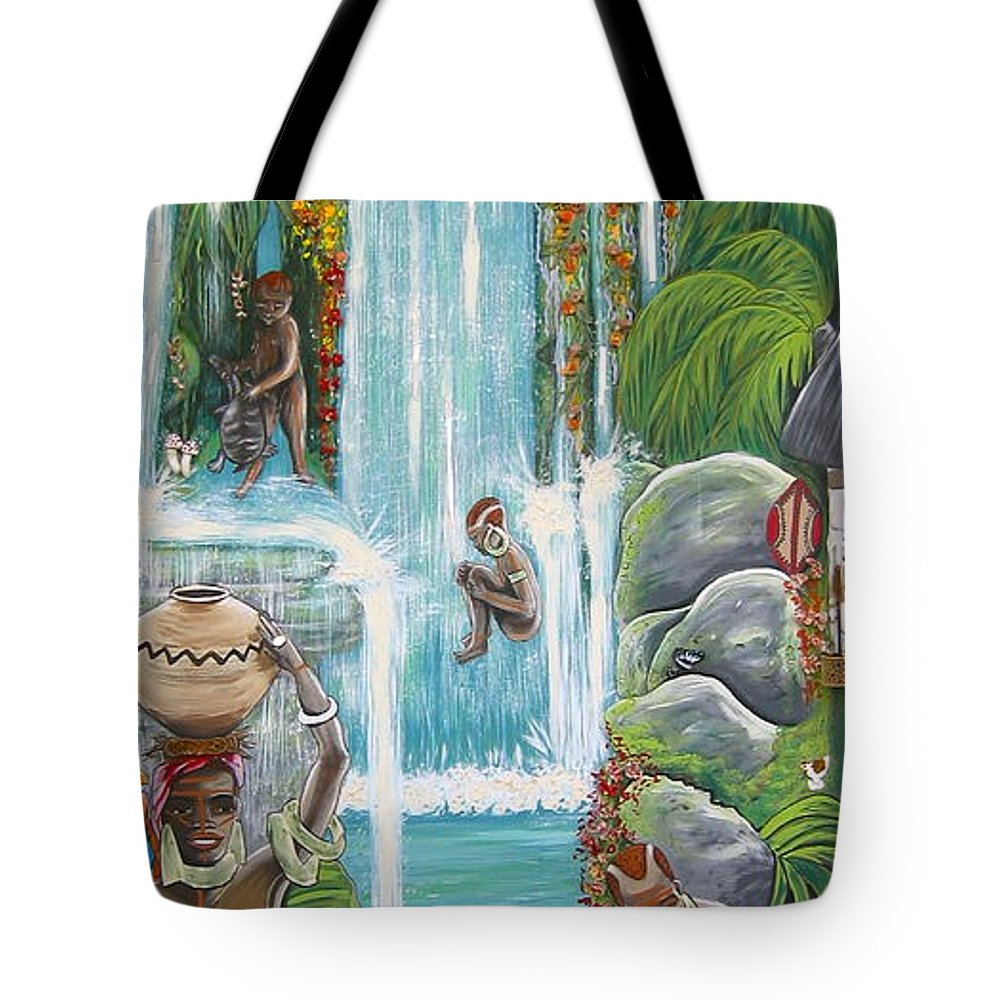 Africa Tote Bag featuring the painting We're Happy by V Boge