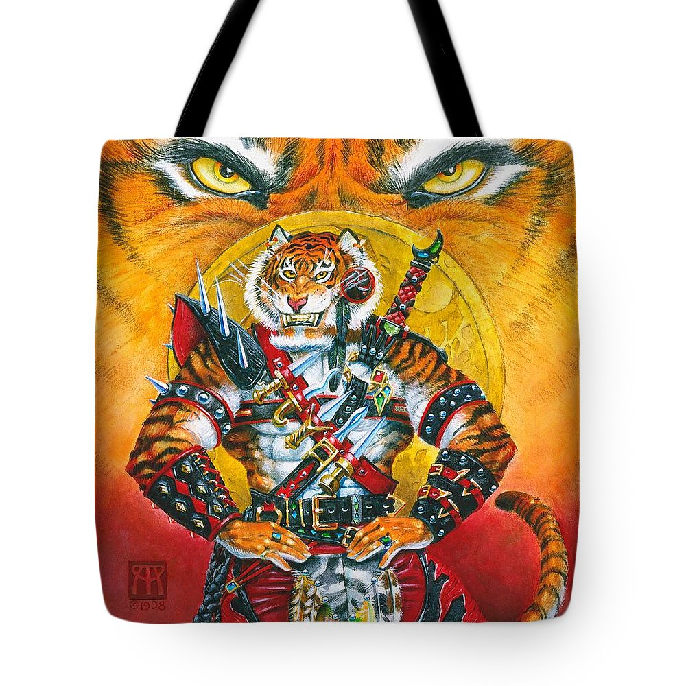 Fantasy Tote Bag featuring the painting Werecat Warrior by Melissa A Benson