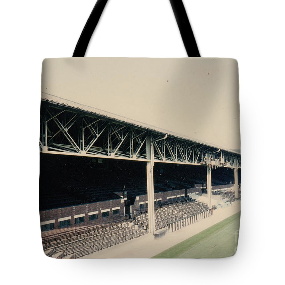 Tote Bag featuring the photograph West Bromwich Albion - The Hawthorns - Halfords Lane West Stand 1 - 1970s by Legendary Football Grounds