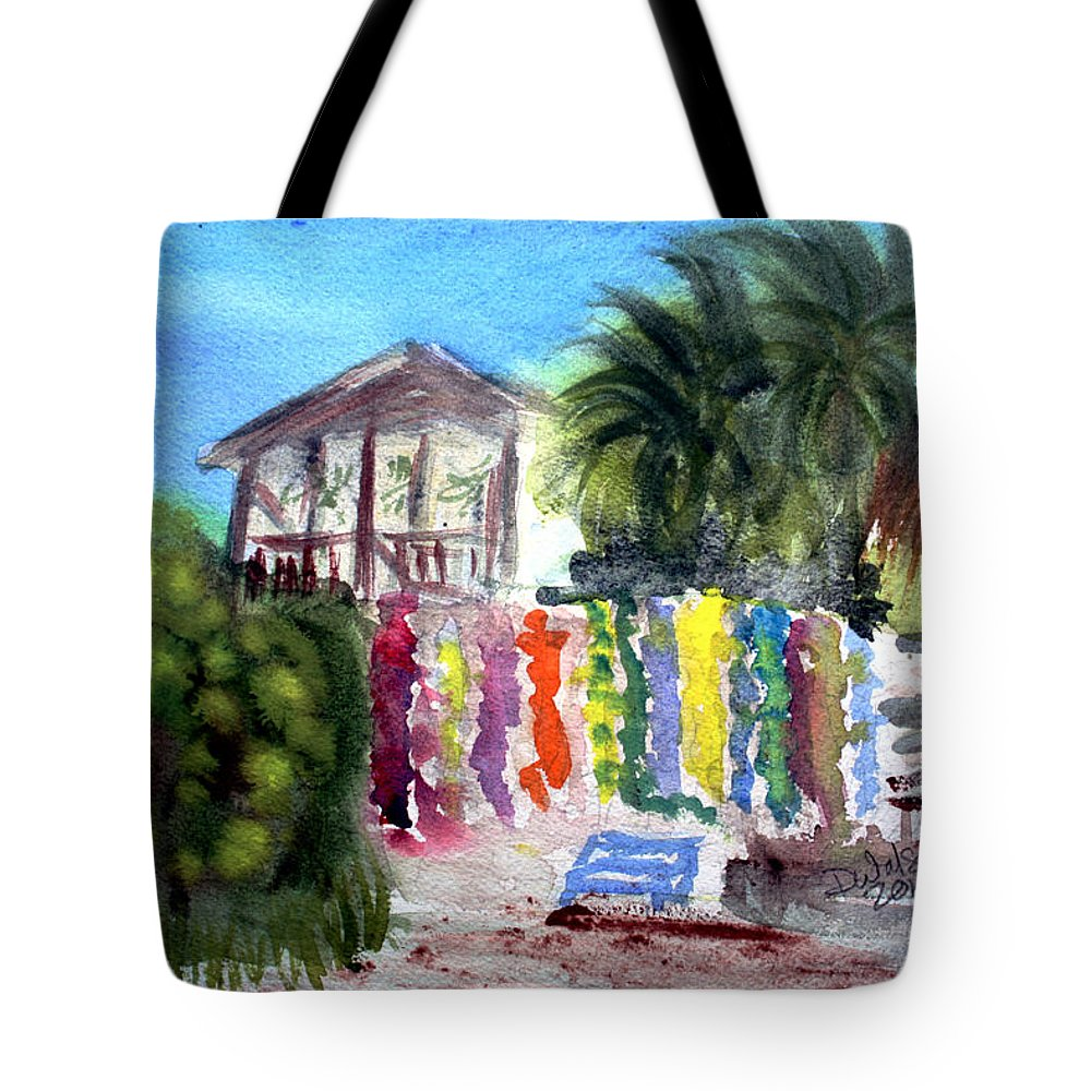 West End Tote Bag featuring the painting West End Market by Donna Walsh
