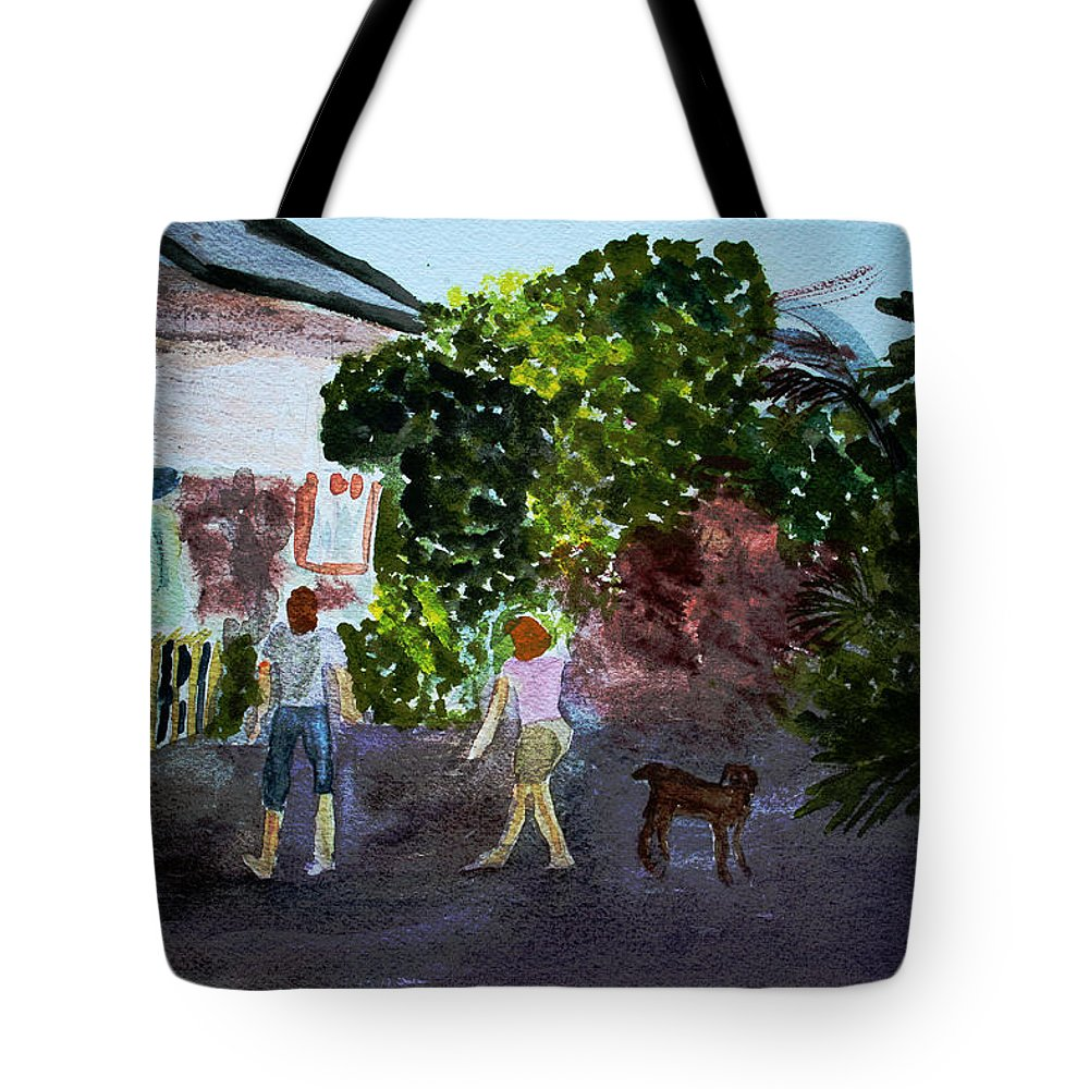 Landscapes Tote Bag featuring the painting West End Shopping by Donna Walsh