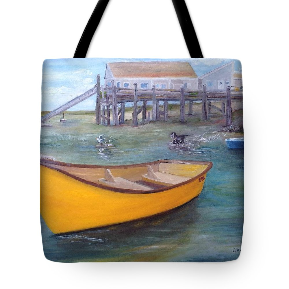 Dingy Tote Bag featuring the painting West End Skiff by Andrea Barauskas