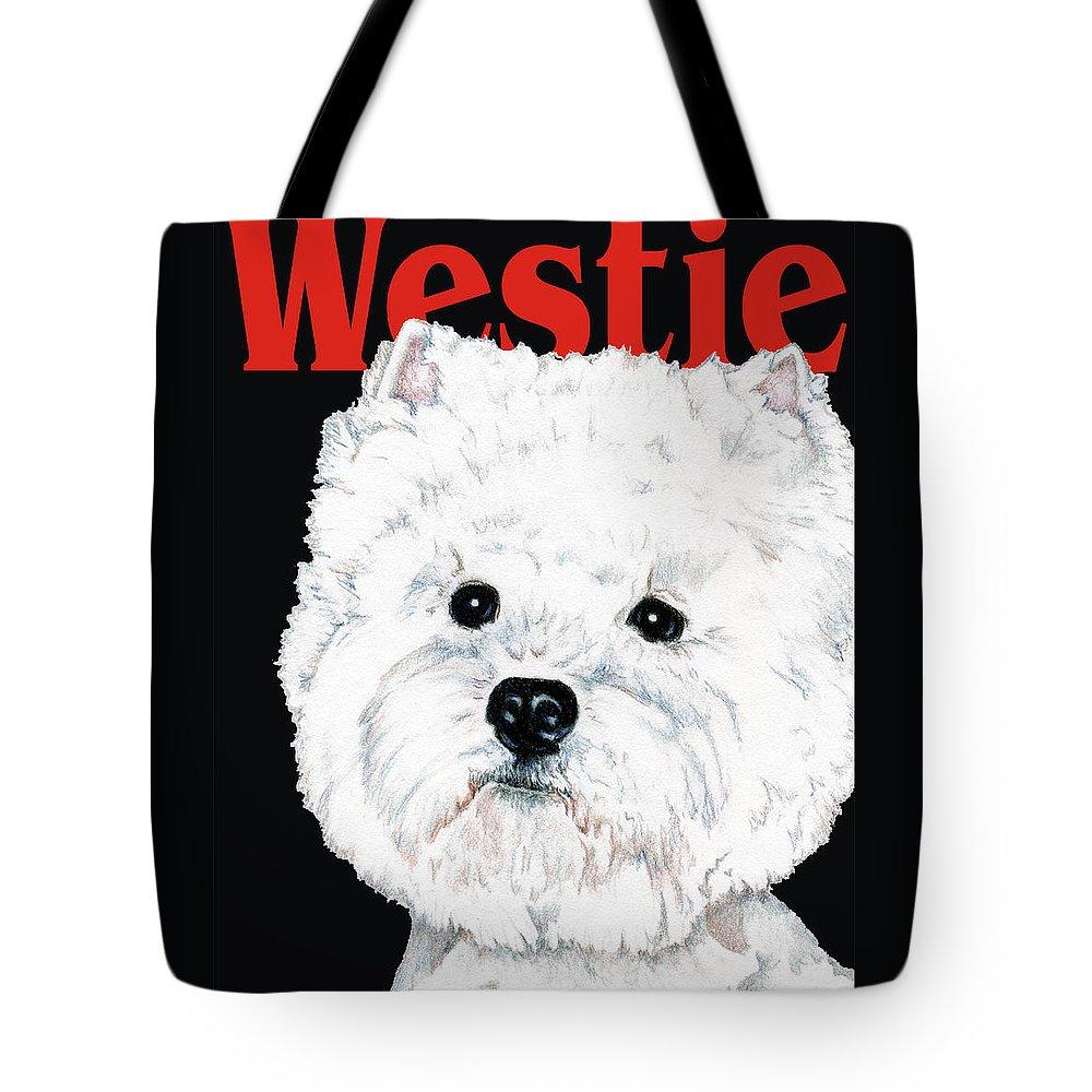 Westie Tote Bag featuring the drawing West Highland White Terrier Westie Urban Pop by Kathleen Sepulveda