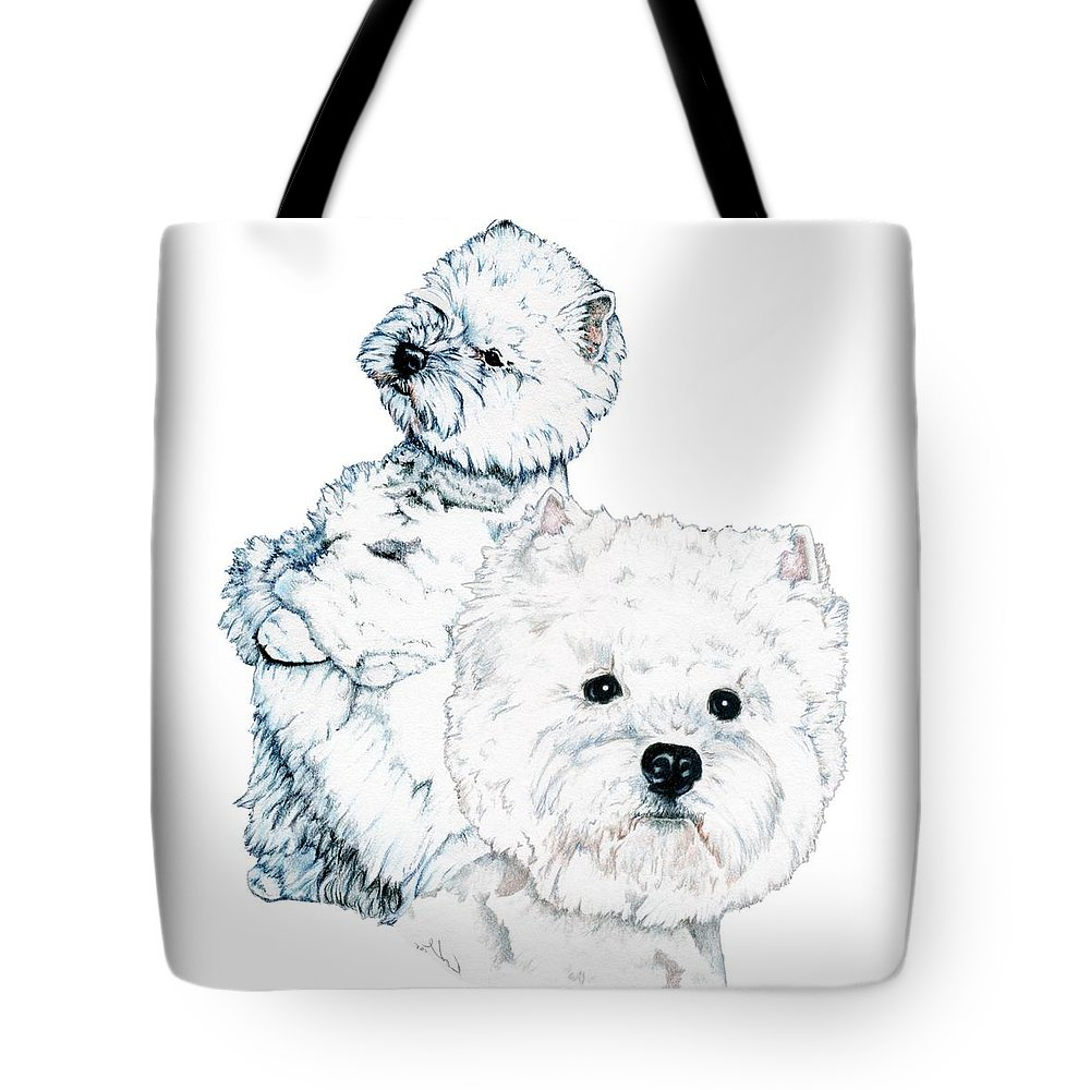 West Highland White Terrier Tote Bag featuring the drawing West Highland White Terriers by Kathleen Sepulveda