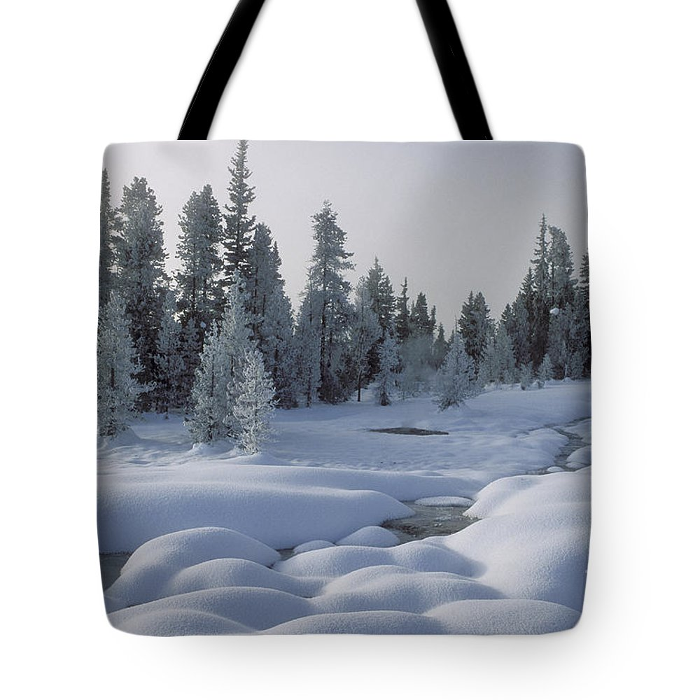 Yellowstone Tote Bag featuring the photograph West Thumb Snow Pillows by Sandra Bronstein