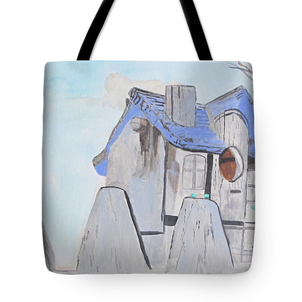 Watercolor Tote Bag featuring the painting West Virginia Birdhouse by Sandy McIntire