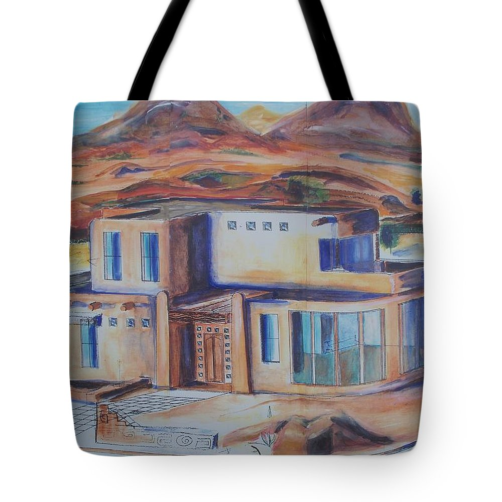 Floral Tote Bag featuring the painting Western Home Illustration by Eric Schiabor